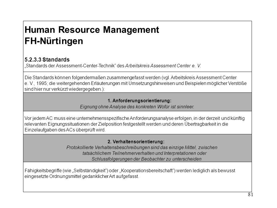 81 Human Resource Management FH-Nürtingen 5.2.3.3 Standards Standards der Assessment-Center-Technik des Arbeitskreis Assessment Center e.