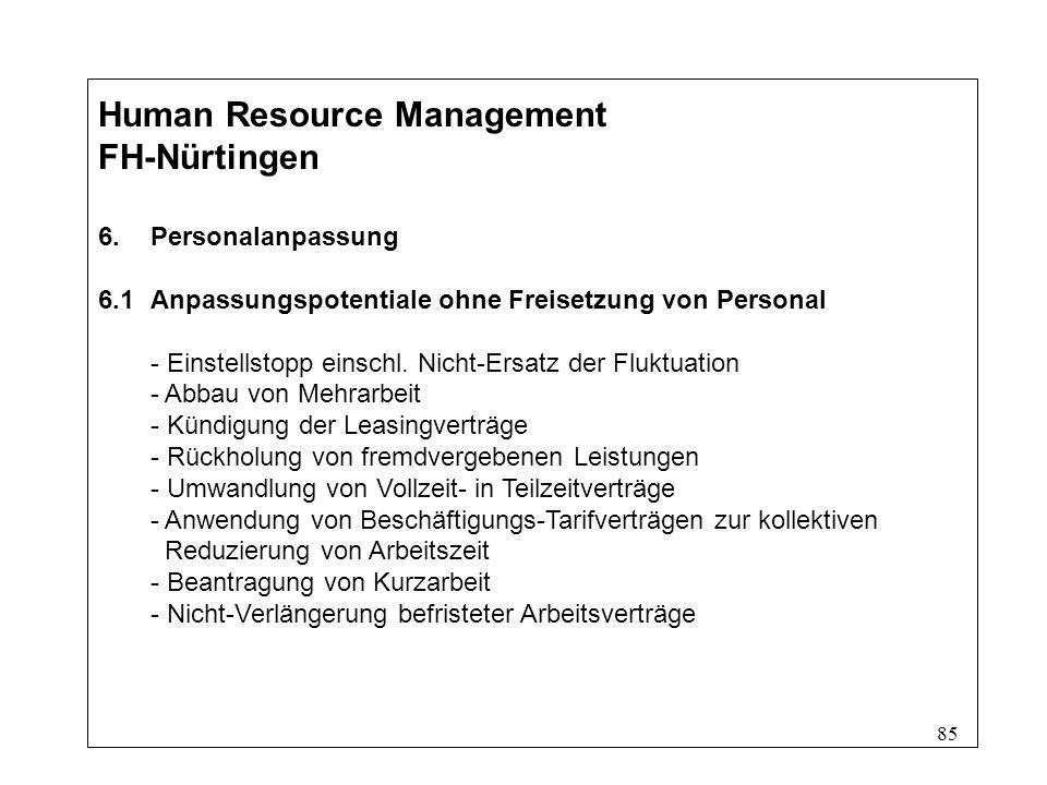 85 Human Resource Management FH-Nürtingen 6.Personalanpassung 6.1Anpassungspotentiale ohne Freisetzung von Personal - Einstellstopp einschl.