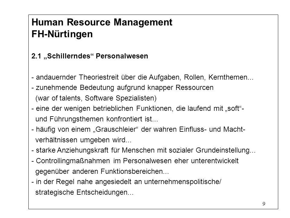9 Human Resource Management FH-Nürtingen 2.1 Schillerndes Personalwesen - andauernder Theoriestreit über die Aufgaben, Rollen, Kernthemen...