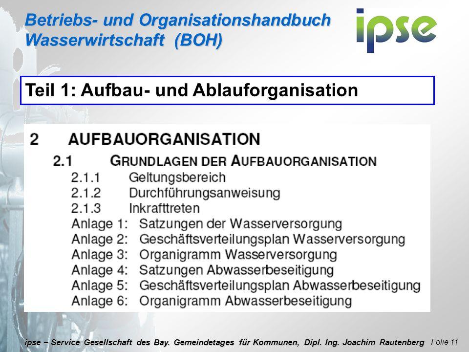 Betriebs- und Organisationshandbuch Wasserwirtschaft (BOH) Folie 11 ipse – Service Gesellschaft des Bay. Gemeindetages für Kommunen, Dipl. Ing. Joachi