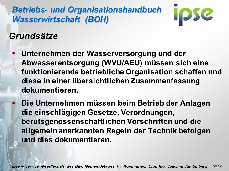 Betriebs- und Organisationshandbuch Wasserwirtschaft (BOH) Folie 2 ipse – Service Gesellschaft des Bay. Gemeindetages für Kommunen, Dipl. Ing. Joachim