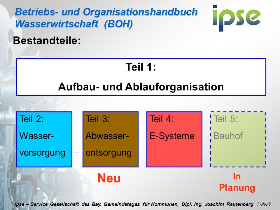 Betriebs- und Organisationshandbuch Wasserwirtschaft (BOH) Folie 9 ipse – Service Gesellschaft des Bay. Gemeindetages für Kommunen, Dipl. Ing. Joachim