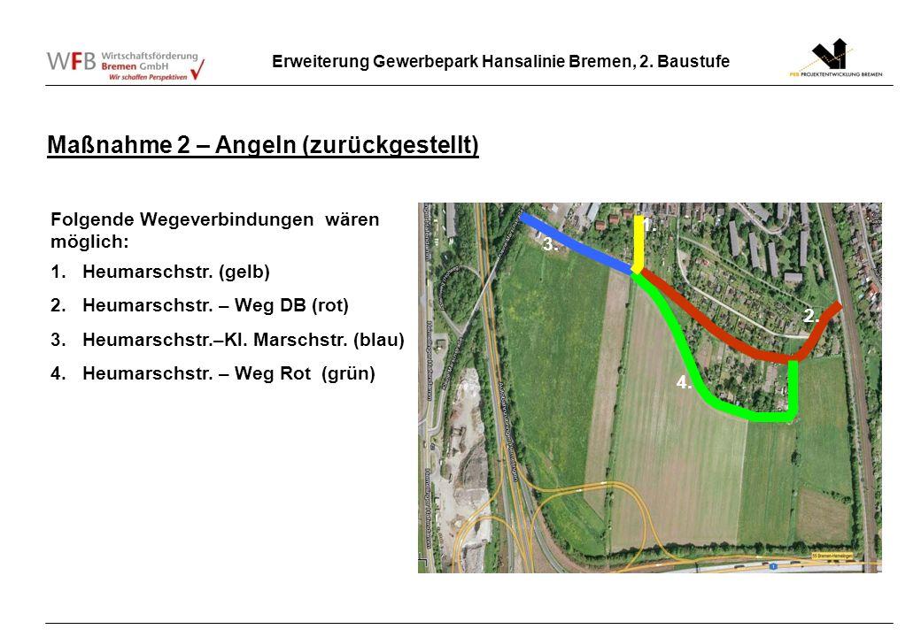 Erweiterung Gewerbepark Hansalinie Bremen, 2. Baustufe Maßnahme 2 – Angeln (zurückgestellt) 2. 3. 4. 1. Folgende Wegeverbindungen wären möglich: 1.Heu