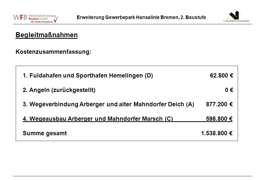 Erweiterung Gewerbepark Hansalinie Bremen, 2. Baustufe Begleitmaßnahmen Kostenzusammenfassung: 1. Fuldahafen und Sporthafen Hemelingen (D) 62.800 2. A
