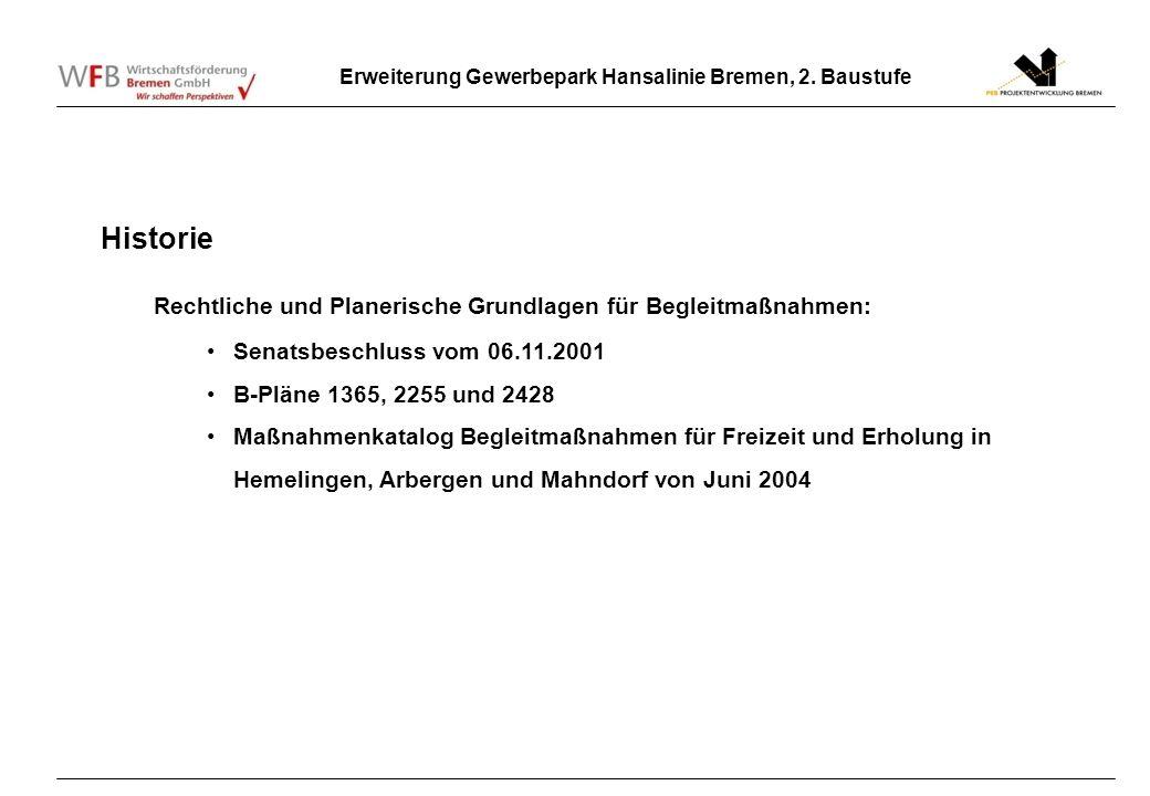 Erweiterung Gewerbepark Hansalinie Bremen, 2. Baustufe Historie Rechtliche und Planerische Grundlagen für Begleitmaßnahmen: Senatsbeschluss vom 06.11.
