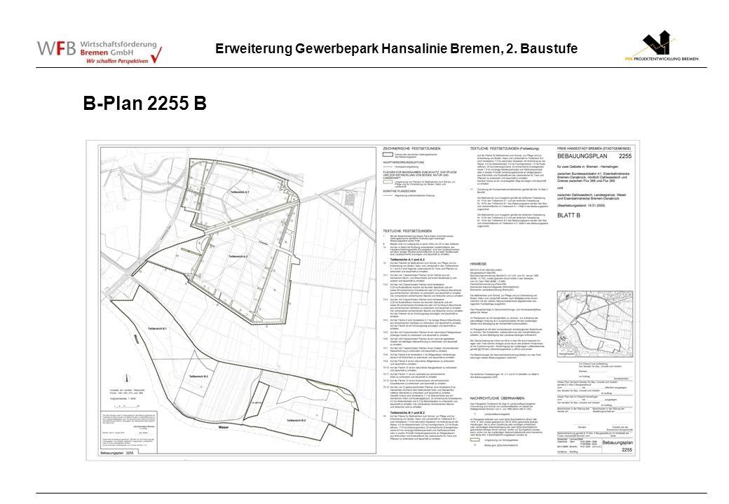 Erweiterung Gewerbepark Hansalinie Bremen, 2. Baustufe B-Plan 2255 B
