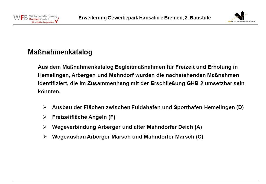 Erweiterung Gewerbepark Hansalinie Bremen, 2. Baustufe Maßnahmenkatalog Aus dem Maßnahmenkatalog Begleitmaßnahmen für Freizeit und Erholung in Hemelin