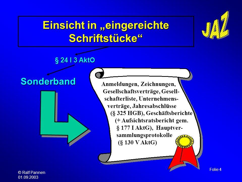 © Ralf Pannen 01.09.2003 Folie 4 Einsicht in eingereichte Schriftstücke § 24 I 3 AktO Sonderband Anmeldungen, Zeichnungen, Gesellschaftsverträge, Gese