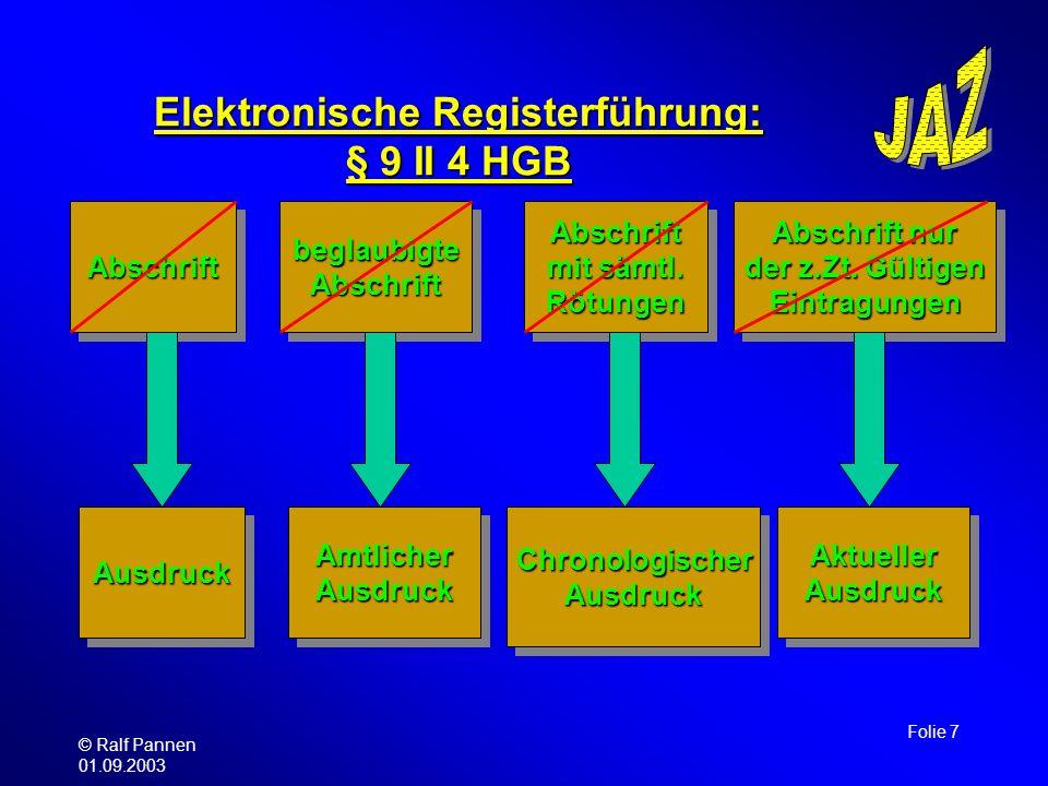 © Ralf Pannen 01.09.2003 Folie 7 Elektronische Registerführung: § 9 II 4 HGB AbschriftAbschriftbeglaubigteAbschriftbeglaubigteAbschrift Abschrift nur