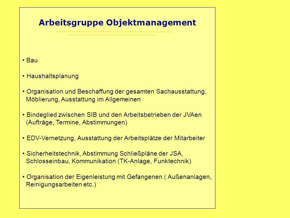 Arbeitsgruppe Objektmanagement Bau Haushaltsplanung Organisation und Beschaffung der gesamten Sachausstattung, Möblierung, Ausstattung im Allgemeinen