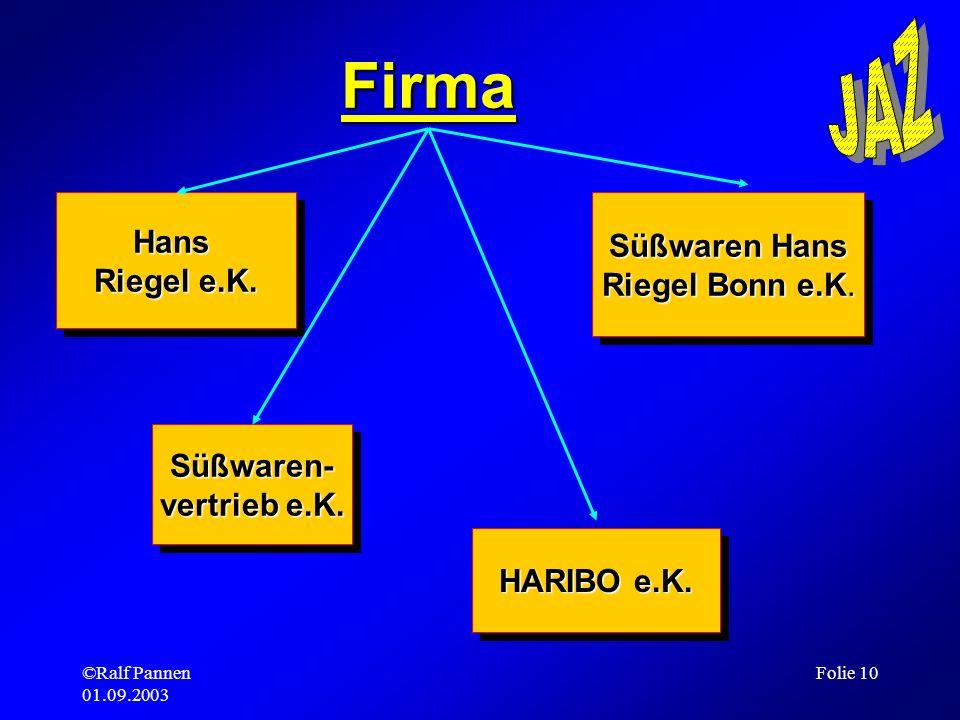 ©Ralf Pannen 01.09.2003 Folie 10 Firma Hans Riegel e.K. Hans Süßwaren- vertrieb e.K. Süßwaren- HARIBO e.K. Süßwaren Hans Riegel Bonn e.K. Süßwaren Han