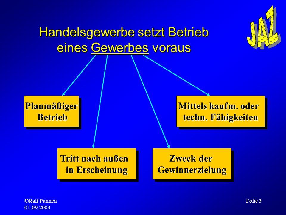 ©Ralf Pannen 01.09.2003 Folie 3 Handelsgewerbe setzt Betrieb eines Gewerbes voraus Planmäßiger Betrieb BetriebPlanmäßiger Tritt nach außen in Erschein