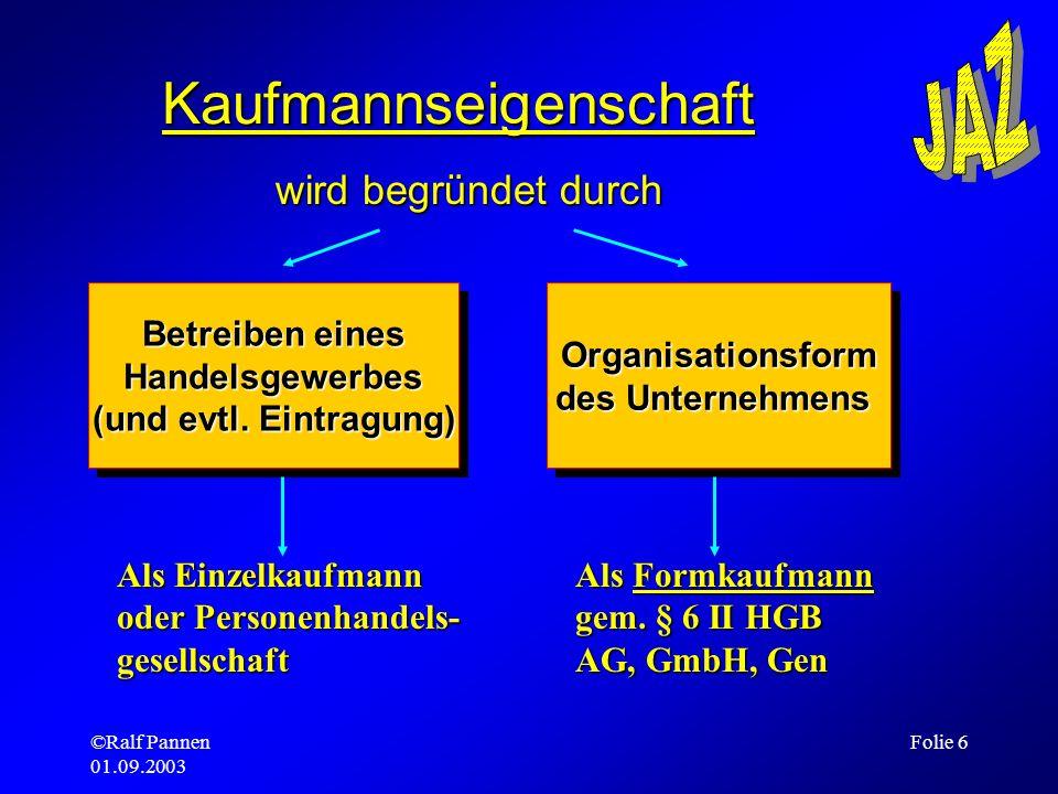 ©Ralf Pannen 01.09.2003 Folie 6 Kaufmannseigenschaft wird begründet durch Betreiben eines Handelsgewerbes (und evtl. Eintragung) Betreiben eines Hande