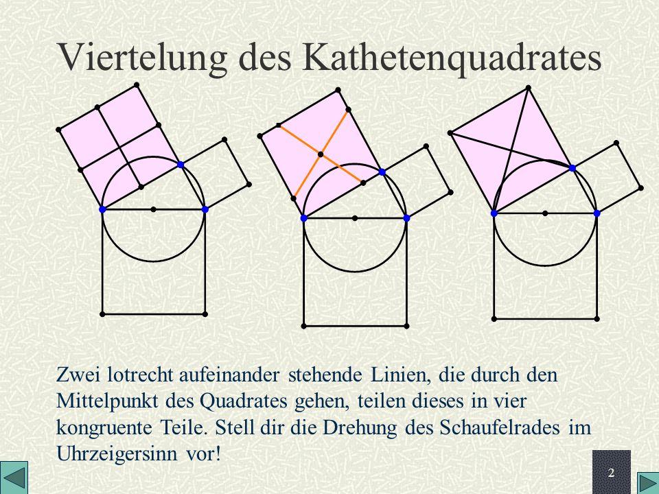 2 Viertelung des Kathetenquadrates Zwei lotrecht aufeinander stehende Linien, die durch den Mittelpunkt des Quadrates gehen, teilen dieses in vier kon