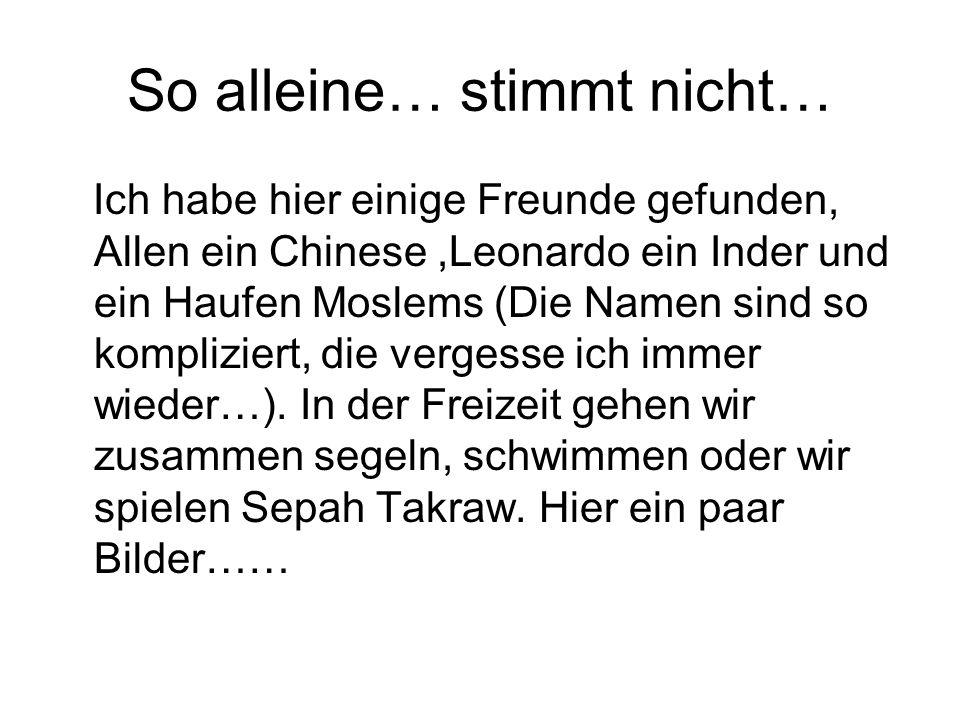 So alleine… stimmt nicht… Ich habe hier einige Freunde gefunden, Allen ein Chinese,Leonardo ein Inder und ein Haufen Moslems (Die Namen sind so kompliziert, die vergesse ich immer wieder…).
