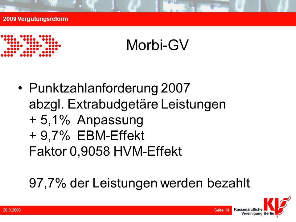 2009 Vergütungsreform 20.9.2008 Seite 14 Morbi-GV Punktzahlanforderung 2007 abzgl. Extrabudgetäre Leistungen + 5,1% Anpassung + 9,7% EBM-Effekt Faktor