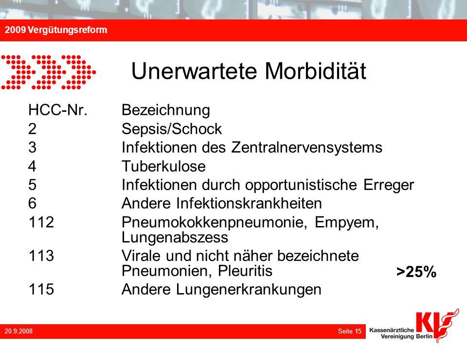 2009 Vergütungsreform 20.9.2008 Seite 15 Unerwartete Morbidität HCC-Nr. Bezeichnung 2 Sepsis/Schock 3 Infektionen des Zentralnervensystems 4 Tuberkulo