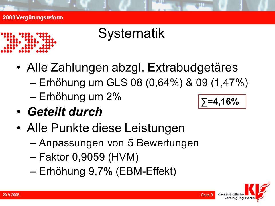 2009 Vergütungsreform 20.9.2008 Seite 9 Systematik Alle Zahlungen abzgl. Extrabudgetäres –Erhöhung um GLS 08 (0,64%) & 09 (1,47%) –Erhöhung um 2% Gete