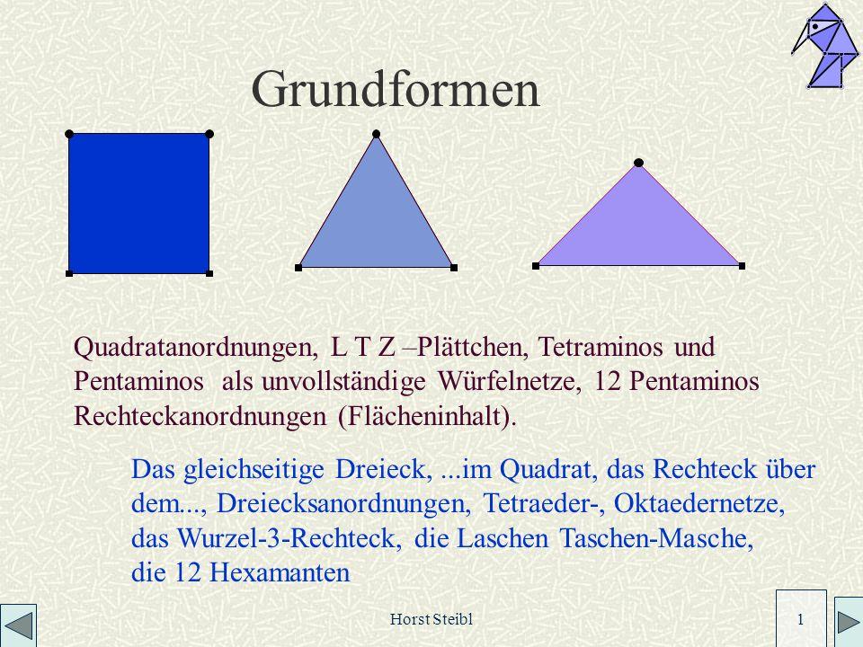 Horst Steibl 1 Grundformen Quadratanordnungen, L T Z –Plättchen, Tetraminos und Pentaminos als unvollständige Würfelnetze, 12 Pentaminos Rechteckanordnungen (Flächeninhalt).