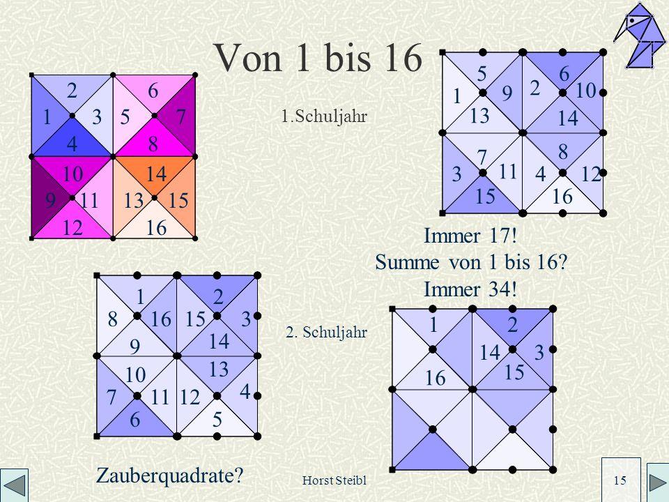 Horst Steibl 15 Von 1 bis 16 1 5 9 13 2 6 10 14 3 7 11 15 4 8 12 16 12 3 4 56 7 8 15 9 14 13 1211 10 1 16 2 15 314 1.Schuljahr Immer 17.