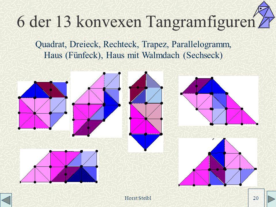 Horst Steibl 20 6 der 13 konvexen Tangramfiguren Quadrat, Dreieck, Rechteck, Trapez, Parallelogramm, Haus (Fünfeck), Haus mit Walmdach (Sechseck)