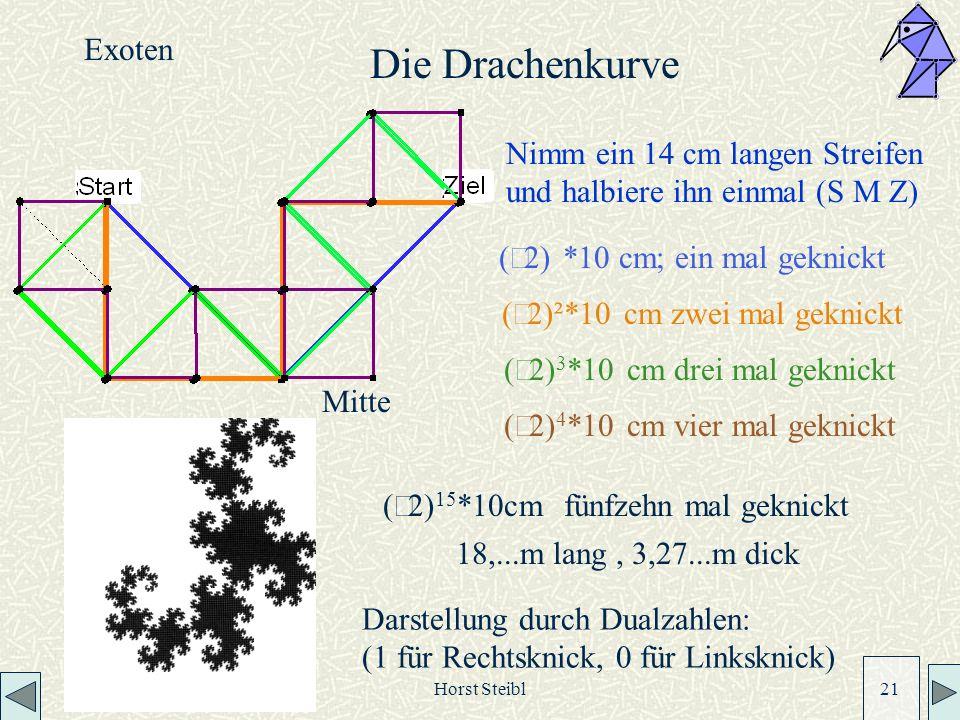 Horst Steibl 21 Mitte Nimm ein 14 cm langen Streifen und halbiere ihn einmal (S M Z) 2) *10 cm; ein mal geknickt ( 2)²*10 cm zwei mal geknickt ( 2) 3 *10 cm drei mal geknickt ( 2) 15 *10cm fünfzehn mal geknickt Darstellung durch Dualzahlen: (1 für Rechtsknick, 0 für Linksknick) 18,...m lang, 3,27...m dick Die Drachenkurve Exoten ( 2) 4 *10 cm vier mal geknickt