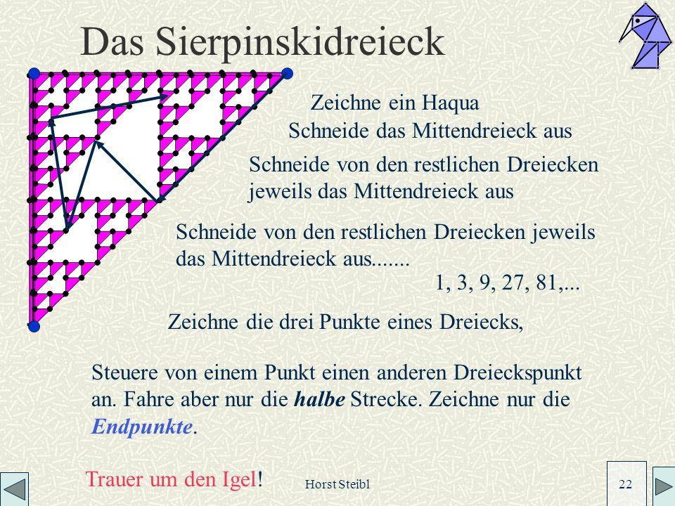 Horst Steibl 22 Das Sierpinskidreieck Zeichne ein Haqua Schneide das Mittendreieck aus Schneide von den restlichen Dreiecken jeweils das Mittendreieck aus Schneide von den restlichen Dreiecken jeweils das Mittendreieck aus.......
