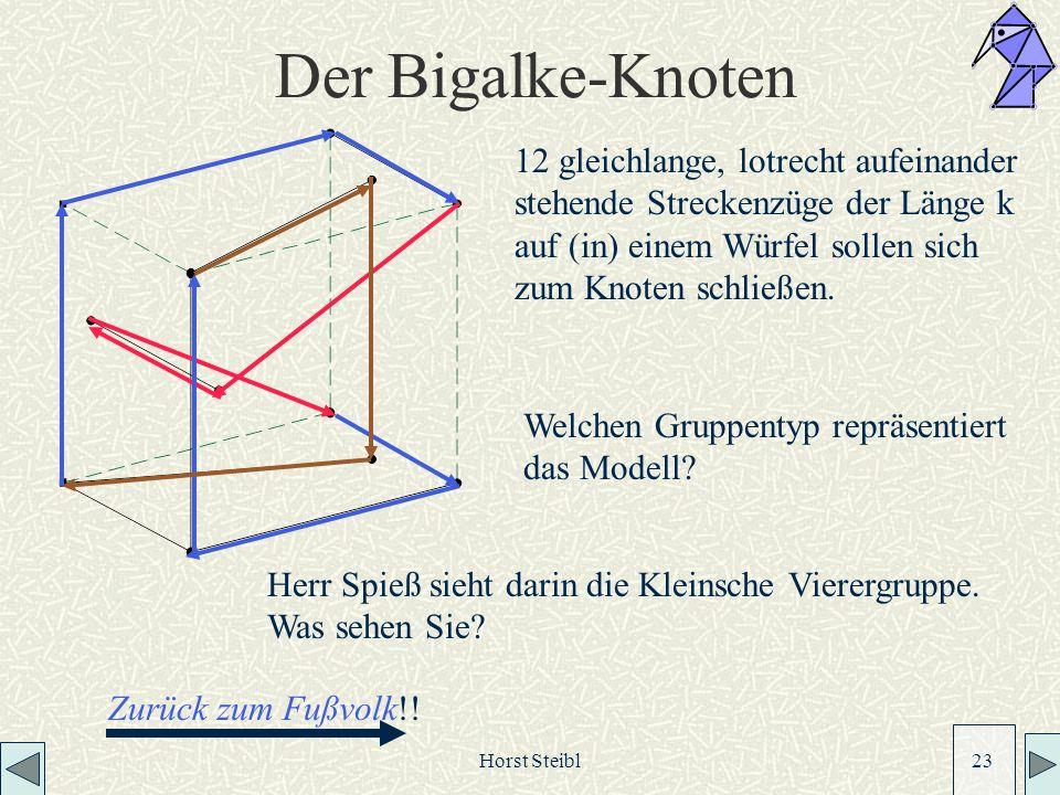 Horst Steibl 23 Der Bigalke-Knoten 12 gleichlange, lotrecht aufeinander stehende Streckenzüge der Länge k auf (in) einem Würfel sollen sich zum Knoten schließen.