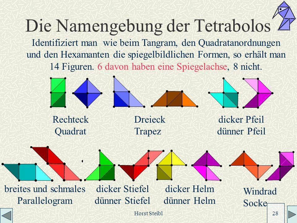 Horst Steibl 28 Die Namengebung der Tetrabolos Identifiziert man wie beim Tangram, den Quadratanordnungen und den Hexamanten die spiegelbildlichen Formen, so erhält man 14 Figuren.
