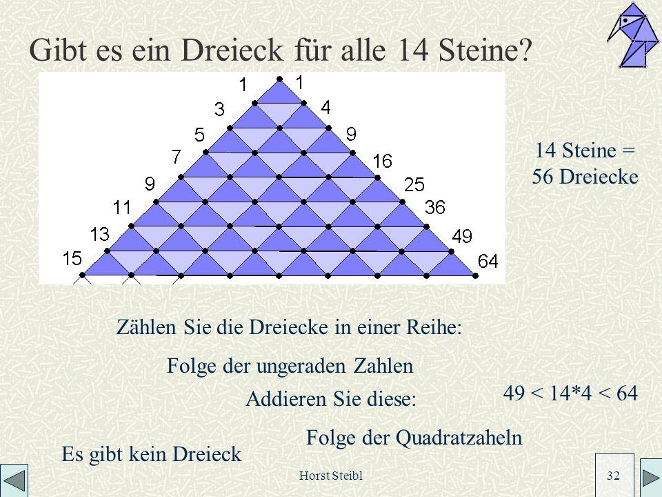 Horst Steibl 32 Gibt es ein Dreieck für alle 14 Steine.
