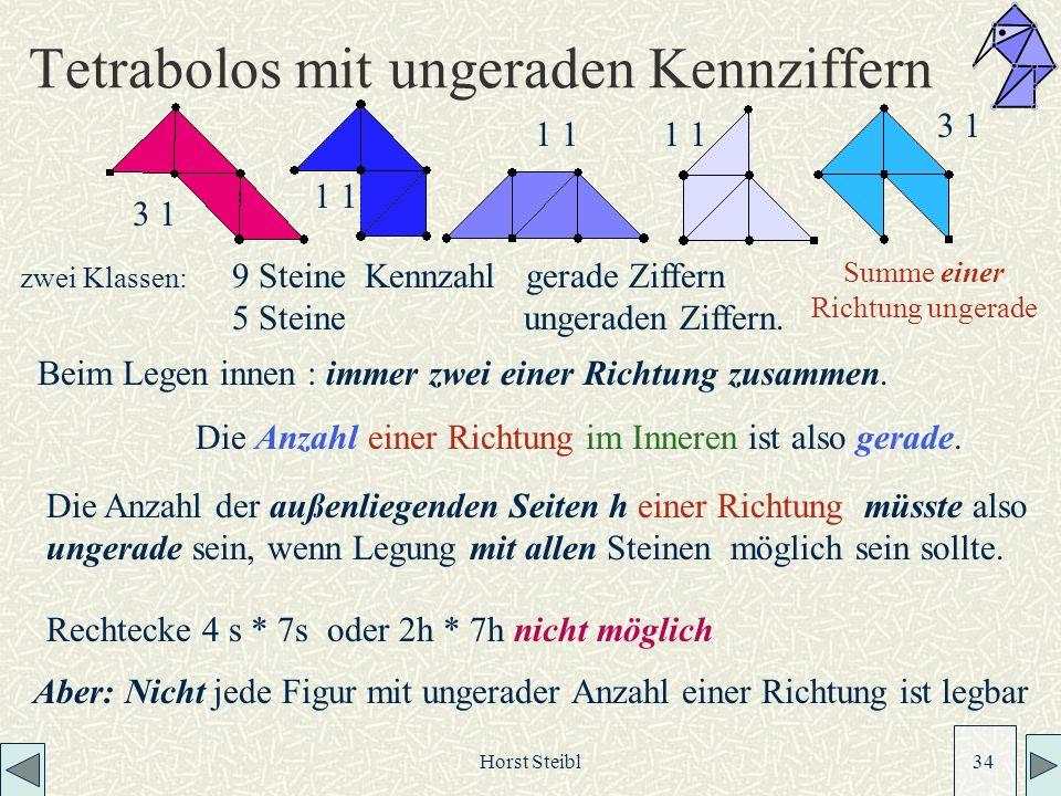 Horst Steibl 34 Tetrabolos mit ungeraden Kennziffern 3 1 1 3 1 zwei Klassen: 9 Steine Kennzahl gerade Ziffern 5 Steine ungeraden Ziffern.