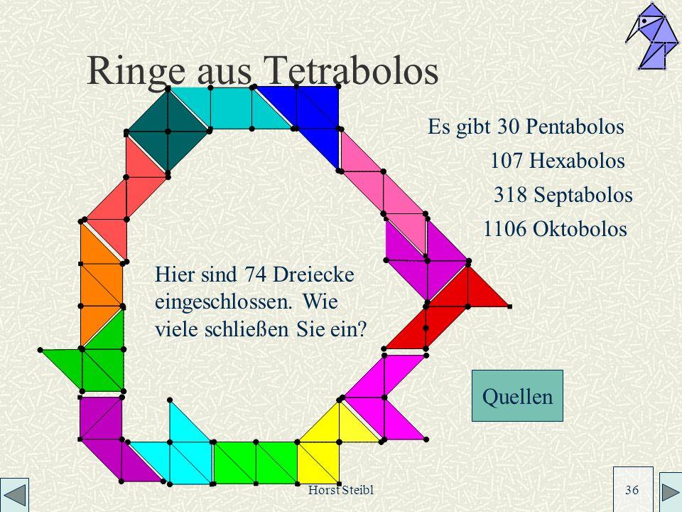 Horst Steibl 36 Ringe aus Tetrabolos Hier sind 74 Dreiecke eingeschlossen.