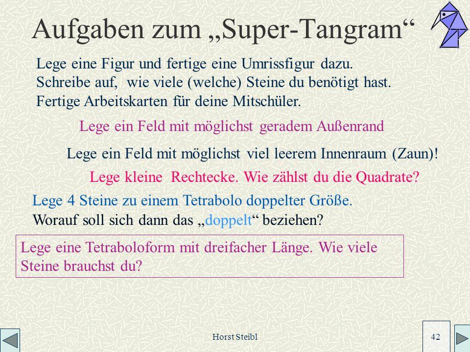 Horst Steibl 42 Aufgaben zum Super-Tangram Lege ein Feld mit möglichst viel leerem Innenraum (Zaun).