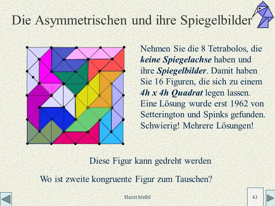 Horst Steibl 43 Die Asymmetrischen und ihre Spiegelbilder Nehmen Sie die 8 Tetrabolos, die keine Spiegelachse haben und ihre Spiegelbilder.