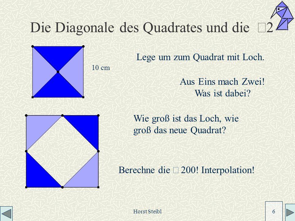 Horst Steibl 6 Die Diagonale des Quadrates und die 2 Wie groß ist das Loch, wie groß das neue Quadrat.