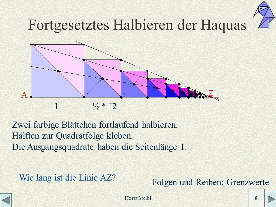 Horst Steibl 8 Fortgesetztes Halbieren der Haquas Zwei farbige Blättchen fortlaufend halbieren.