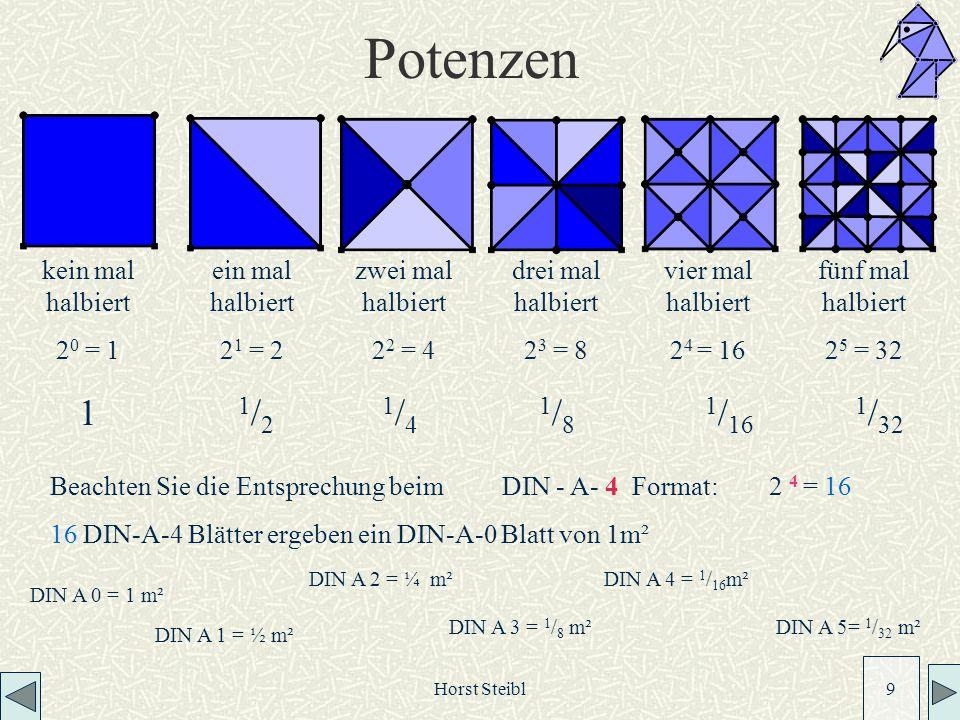 Horst Steibl 9 Potenzen kein mal halbiert 2 0 = 1 ein mal halbiert 2 1 = 2 zwei mal halbiert 2 2 = 4 drei mal halbiert 2 3 = 8 vier mal halbiert 2 4 = 16 fünf mal halbiert 2 5 = 32 Beachten Sie die Entsprechung beim DIN - A- 4 Format: 2 4 = 16 16 DIN-A-4 Blätter ergeben ein DIN-A-0 Blatt von 1m² DIN A 0 = 1 m² DIN A 1 = ½ m² DIN A 2 = ¼ m² DIN A 3 = 1 / 8 m² DIN A 4 = 1 / 16 m² DIN A 5= 1 / 32 m² 1 1 / 2 1 / 4 1 / 8 1 / 16 1 / 32