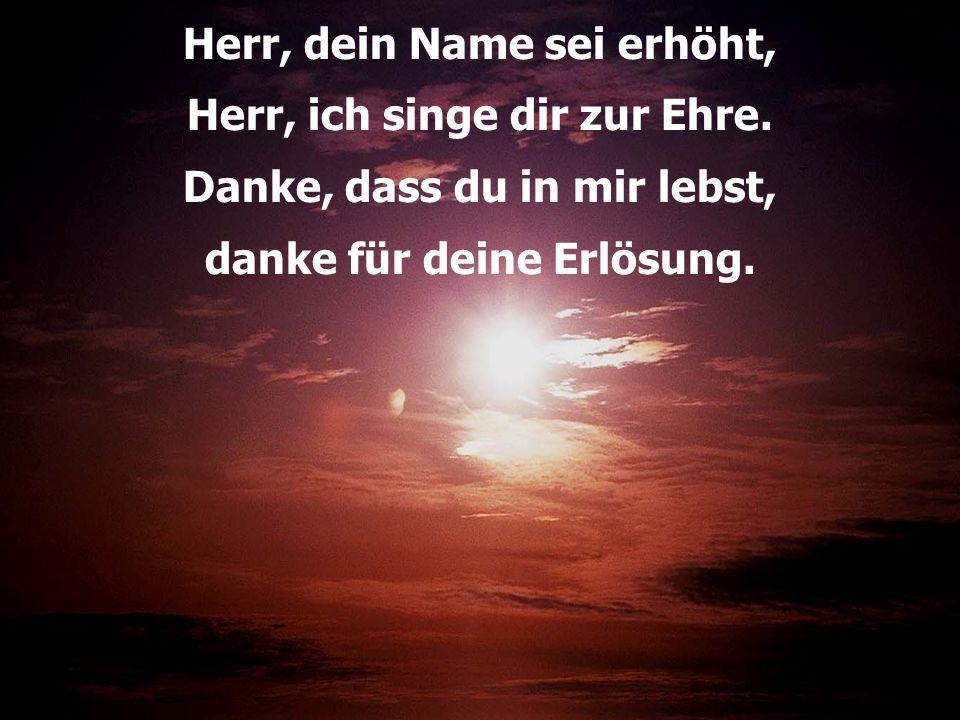 Herr, dein Name sei erhöht, Herr, ich singe dir zur Ehre. Danke, dass du in mir lebst, danke für deine Erlösung.