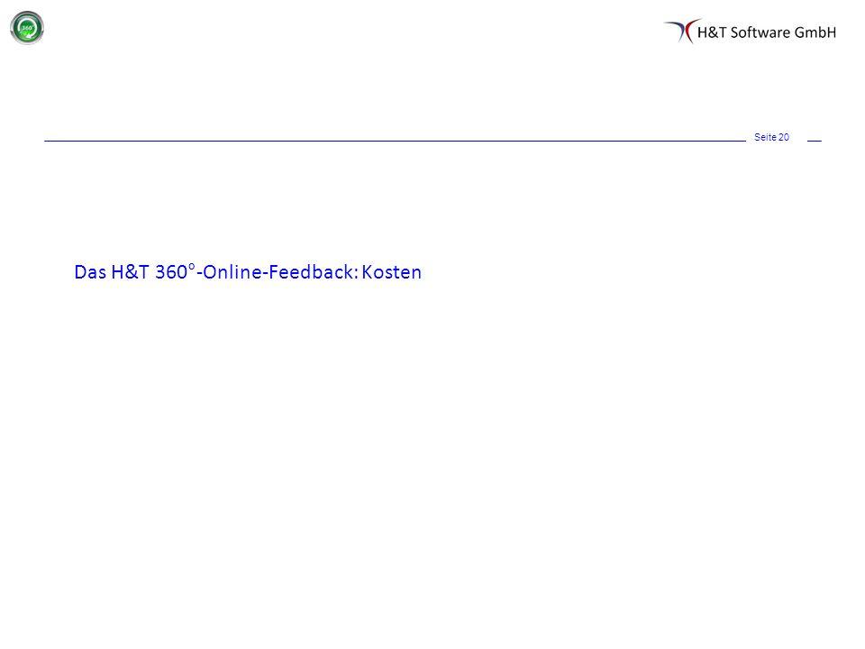 Seite 20 Das H&T 360°-Online-Feedback: Kosten