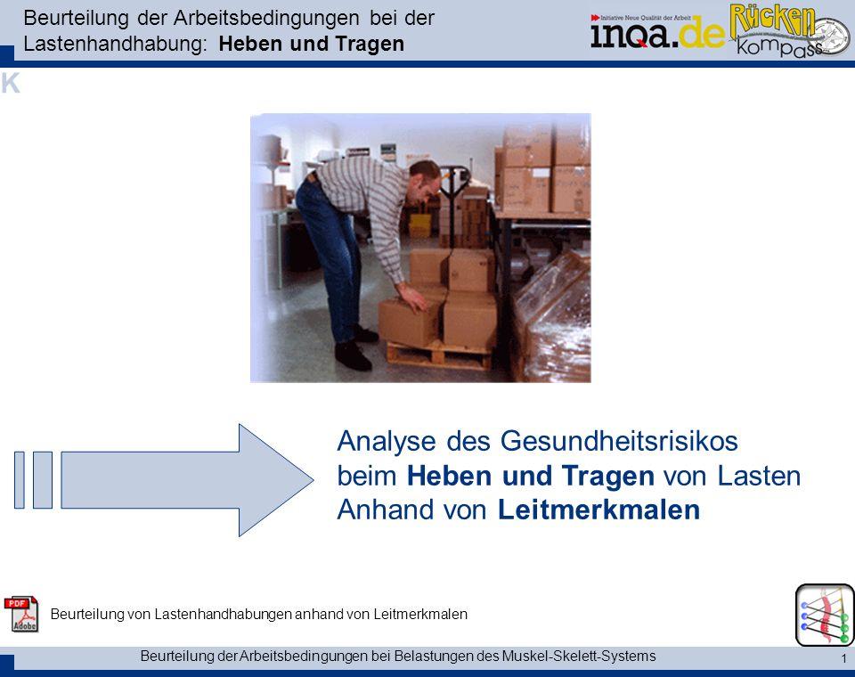 Beurteilung der Arbeitsbedingungen bei Belastungen des Muskel-Skelett-Systems 1 Beurteilung der Arbeitsbedingungen bei der Lastenhandhabung: Heben und