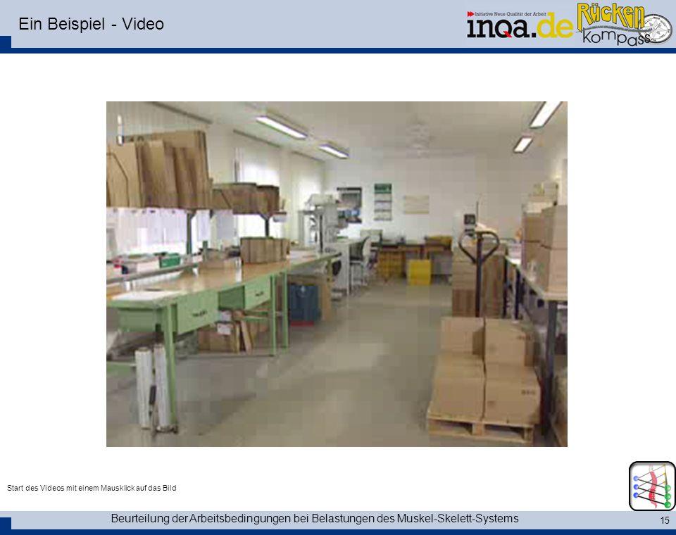 Beurteilung der Arbeitsbedingungen bei Belastungen des Muskel-Skelett-Systems 15 Ein Beispiel - Video Start des Videos mit einem Mausklick auf das Bil