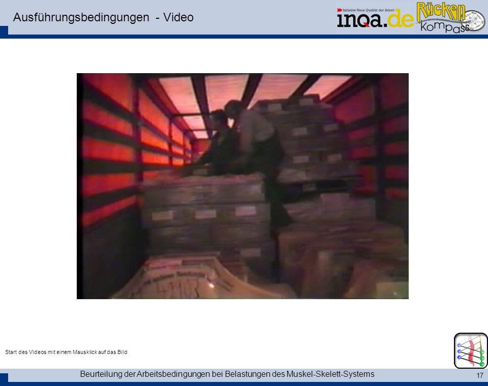 Beurteilung der Arbeitsbedingungen bei Belastungen des Muskel-Skelett-Systems 17 Ausführungsbedingungen - Video Start des Videos mit einem Mausklick a