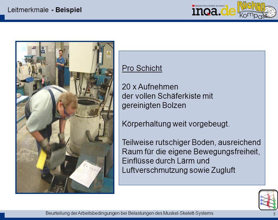 Beurteilung der Arbeitsbedingungen bei Belastungen des Muskel-Skelett-Systems 5 Leitmerkmale - Beispiel Pro Schicht 20 x Aufnehmen der vollen Schäferk