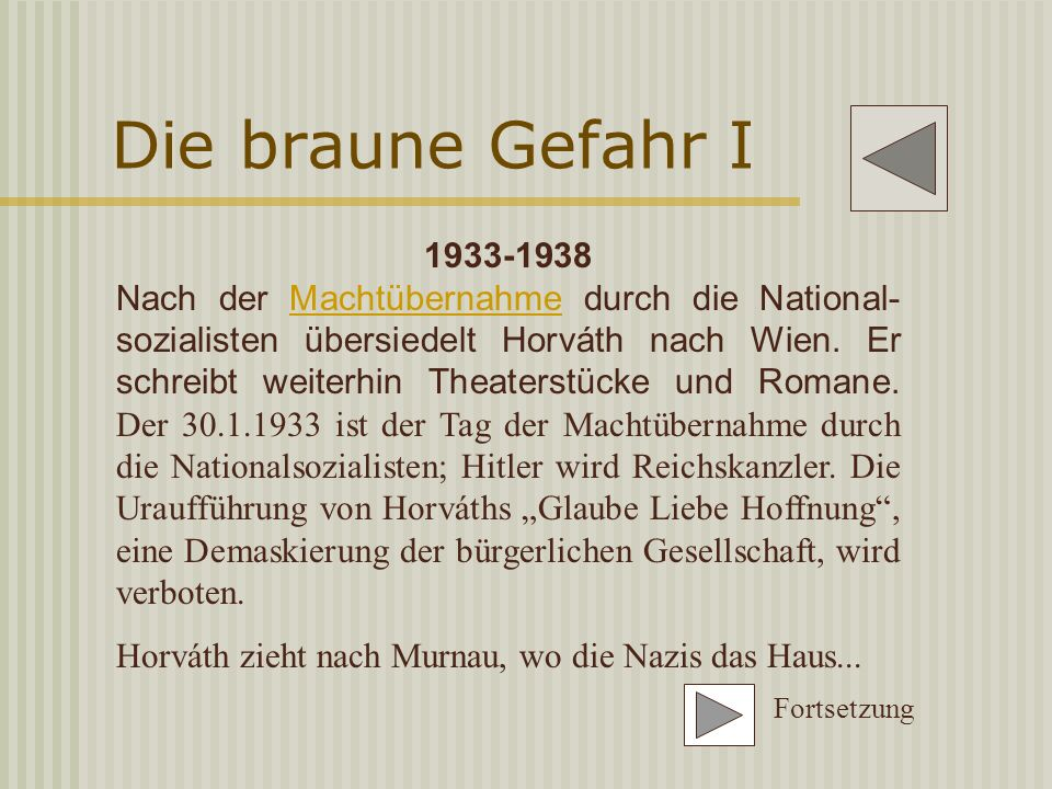Horváth und das Theater 1931 Uraufführung der bedeutendsten Theaterstücke Horváths -