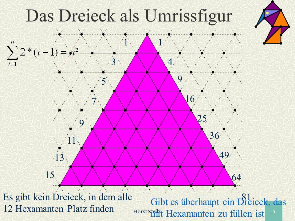 Horst Steibl5 Das Dreieck als Umrissfigur 1 3 5 7 9 11 13 15 1 4 9 16 25 36 49 64 81Es gibt kein Dreieck, in dem alle 12 Hexamanten Platz finden Gibt