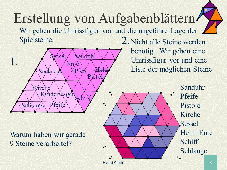 Horst Steibl8 Erstellung von Aufgabenblättern Wir geben die Umrissfigur vor und die ungefähre Lage der Spielsteine. Schlange Pfeife Schiff Kirche Kind