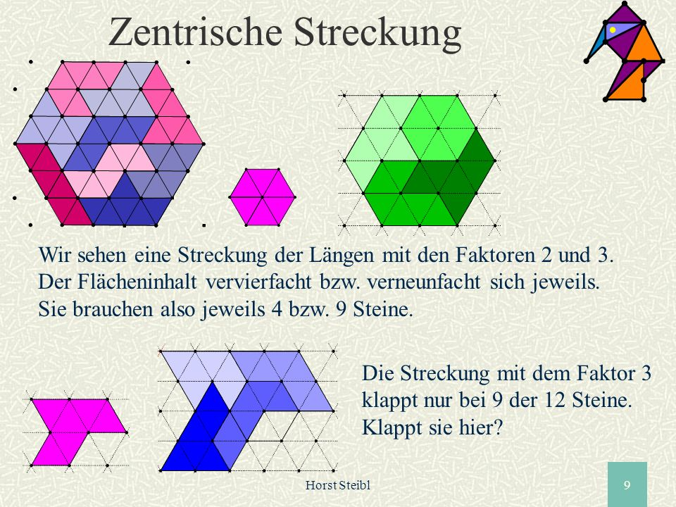 Horst Steibl9 Zentrische Streckung Wir sehen eine Streckung der Längen mit den Faktoren 2 und 3. Der Flächeninhalt vervierfacht bzw. verneunfacht sich