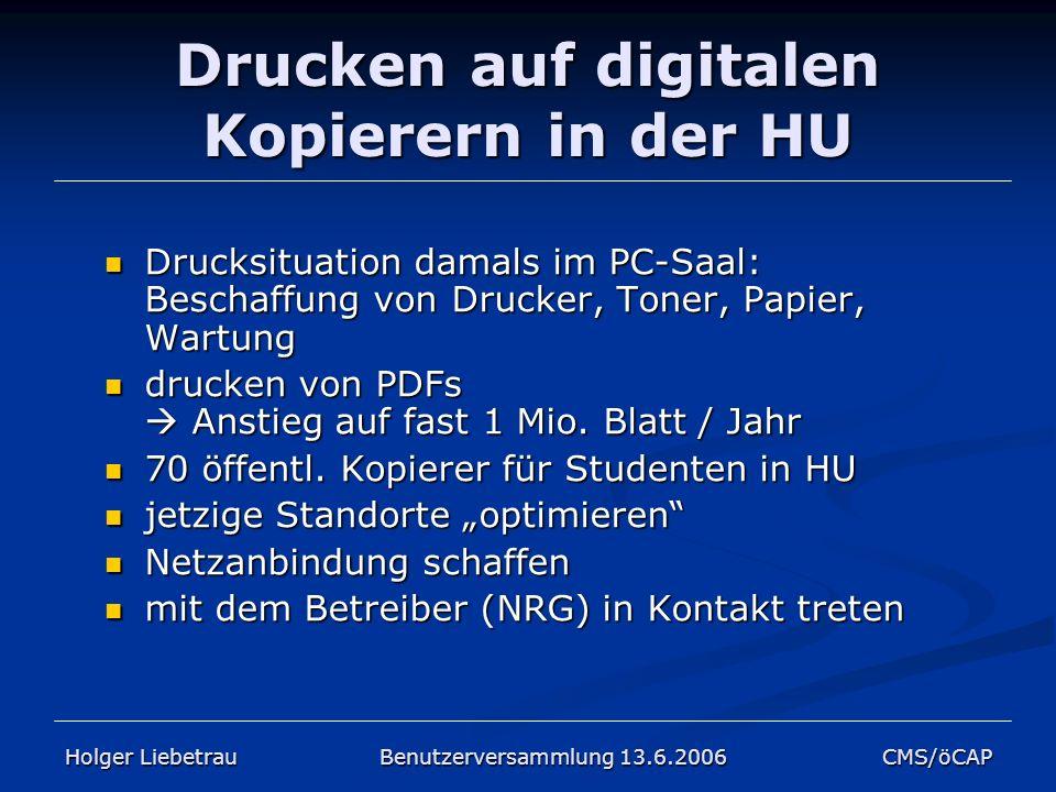Drucken auf digitalen Kopierern in der HU Drucksituation damals im PC-Saal: Beschaffung von Drucker, Toner, Papier, Wartung Drucksituation damals im P