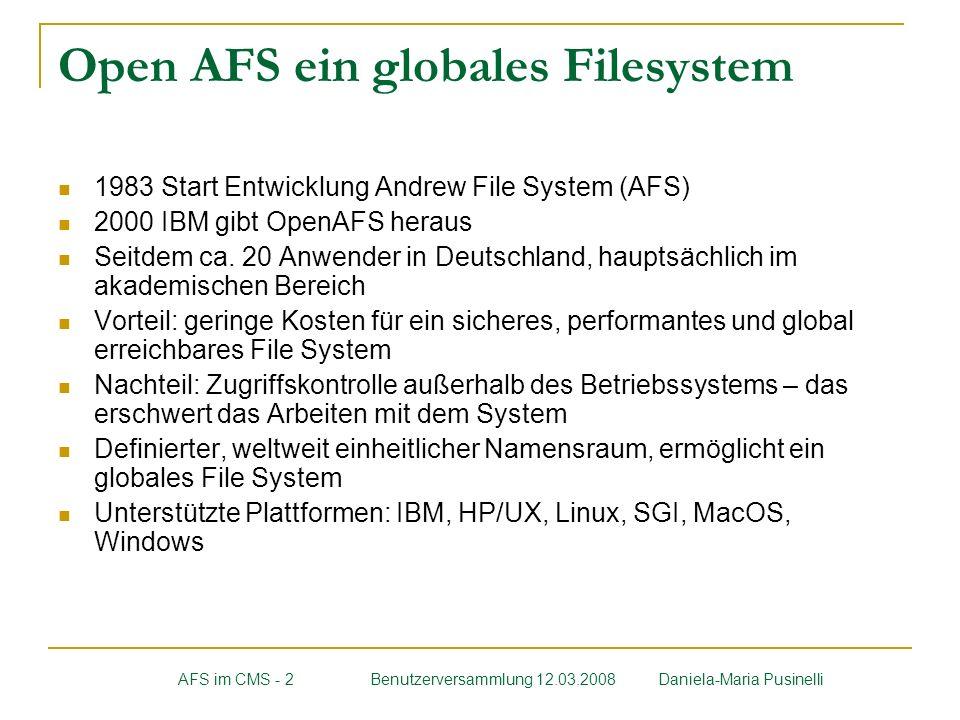 Open AFS ein globales Filesystem 1983 Start Entwicklung Andrew File System (AFS) 2000 IBM gibt OpenAFS heraus Seitdem ca. 20 Anwender in Deutschland,