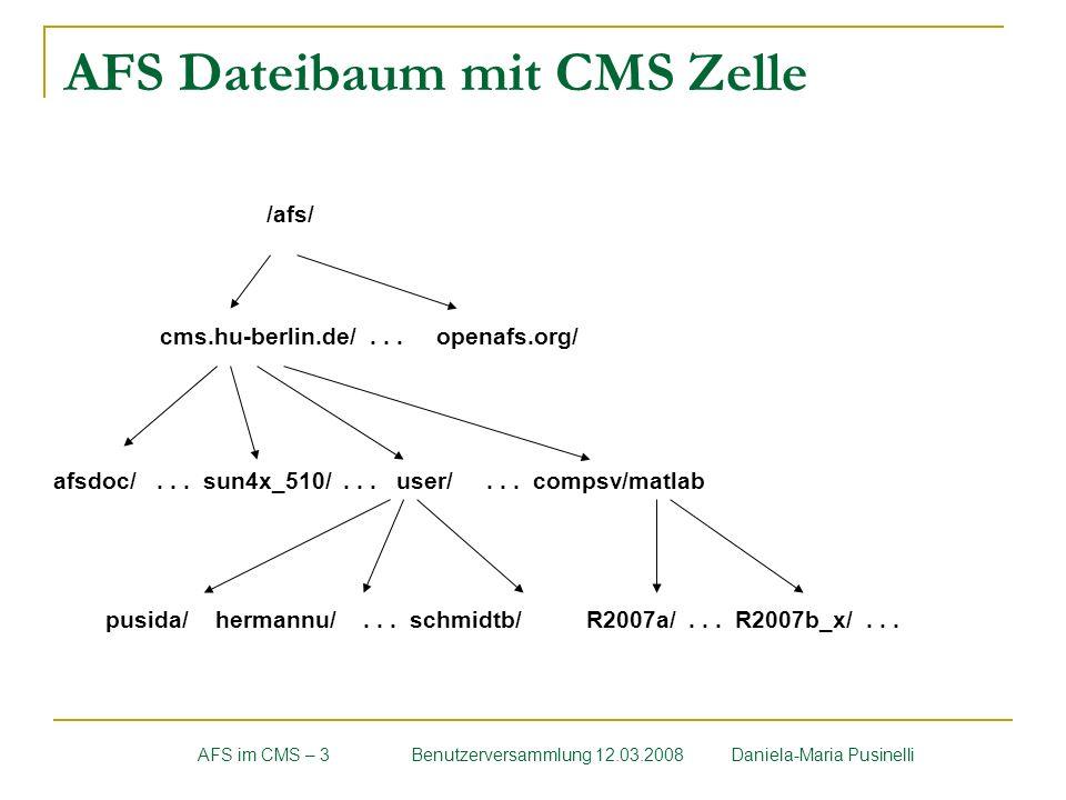 AFS Dateibaum mit CMS Zelle AFS im CMS – 3Benutzerversammlung 12.03.2008 Daniela-Maria Pusinelli /afs/ cms.hu-berlin.de/... openafs.org/ afsdoc/... su